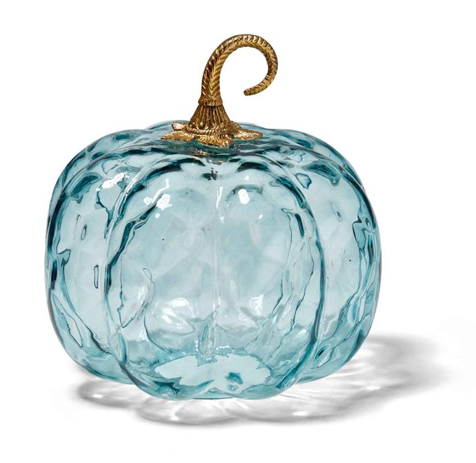 Blue glass **pumpkin**, $16.95, from **TK Maxx**.
