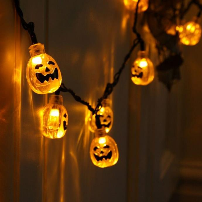 "Halloween pumpkin LED **string lights**, $14.99, from [Discount Party Supplies](https://www.discountpartysupplies.com.au/occasions-and-events/halloween/halloween-pumpkin-led-string-lights-hallifa01.html|target=""_blank""