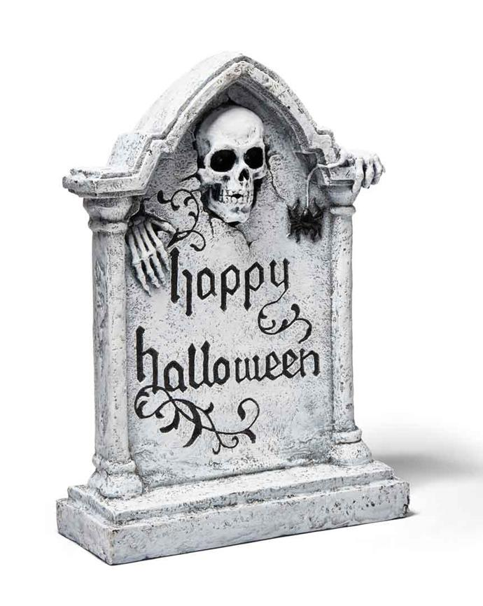 Halloween **tomb stone**, $49.95, from **TK Maxx**.