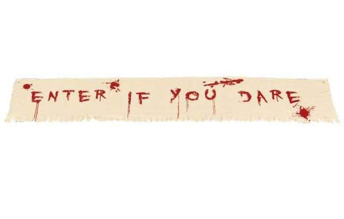 "'Enter if you dare' **banner**, $16.99, from [Heaven Costumes](https://www.heavencostumes.com.au/enter-if-you-dare-bloody-banner-halloween-decoration.html|target=""_blank""