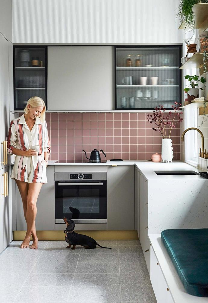 "Sophie and Billie in the new kitchen with overhead cupboards featuring fluted glass, and a brass kickboard that matches the [Lo & Co](https://www.loandcointeriors.com.au/|target=""_blank""