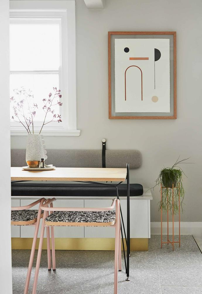 Sophie used a subtle technique for the tiny dining area of the apartment, bringing in furniture with slim legs so the floor space remains relatively clear.