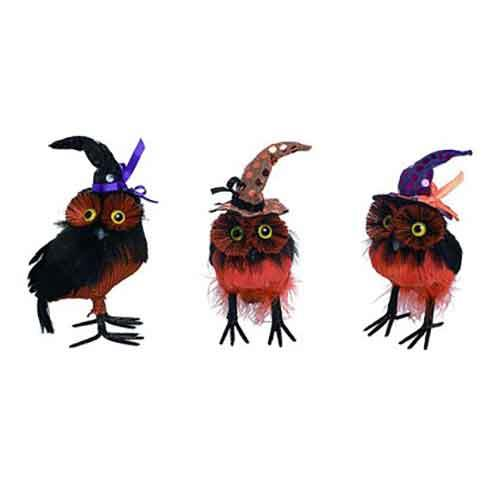 "Black and orange witch **owl set** of three, $47.99, from [Zulily](https://fave.co/32s0HXC|target=""_blank""