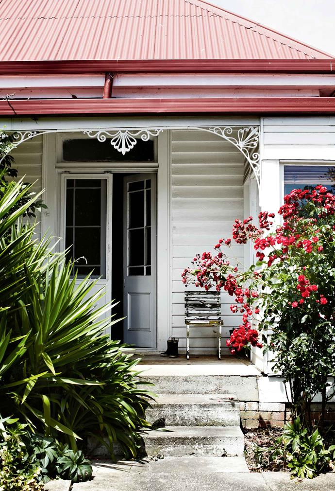 "The home's front door is framed by red roses, a yucca and [agapanthus](https://www.homestolove.com.au/plant-guide-agapanthus-9867|target=""_blank"")."