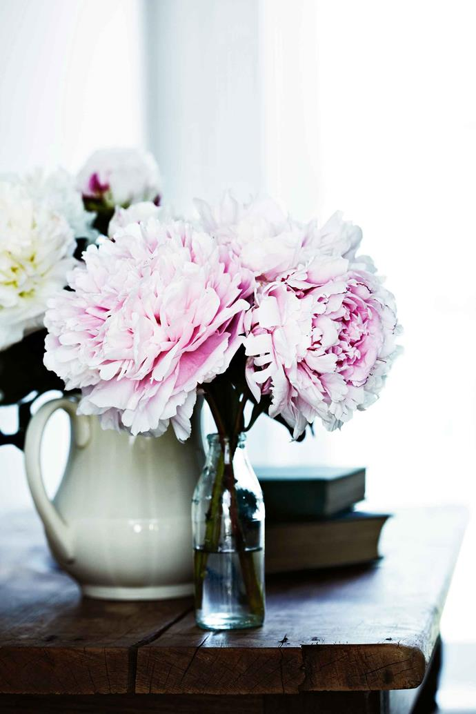 "[Peonies](https://www.homestolove.com.au/how-to-grow-peonies-10659|target=""_blank"") picked fresh from the garden form an elegant arrangement."