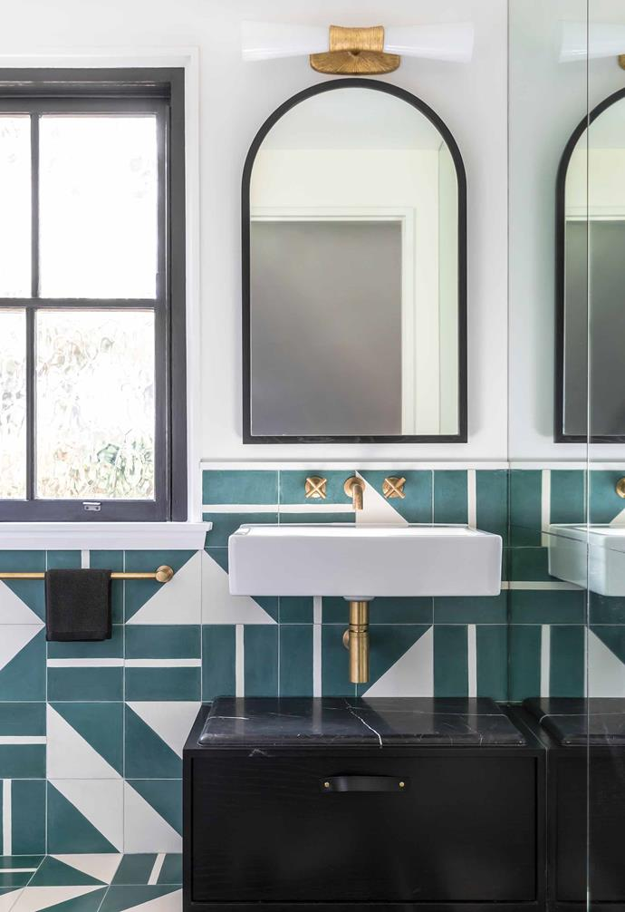 "Your powder room is the perfect opportunity to decorate in miniature so opt for a design you love.  It might be inspired by a strong feature, such as the Popham 'Brasilia with Triangles' tiles from [Onsite Supply & Design](http://www.onsitesd.com.au/|target=""_blank""
