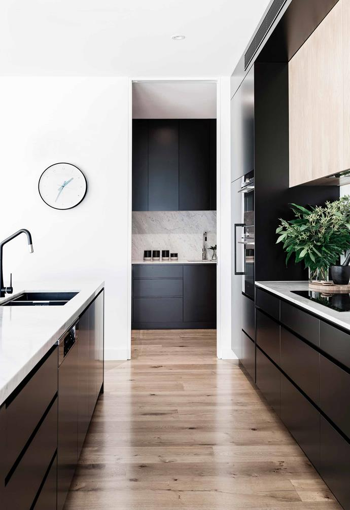 "**Kitchen/pantry** Kellie chose cabinetry in two contrasting finishes: crown-cut American oak veneer and [Taubmans](https://www.taubmans.com.au/homeowners|target=""_blank""