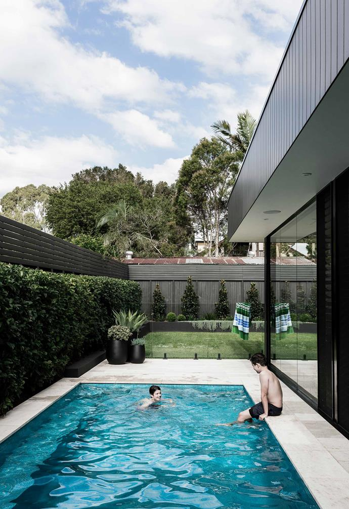 "**Pool area** Having the water so close to the house makes diving in a 24/7 temptation. Around the pool are Chambon sandblasted travertine pavers from [Eco Outdoor](https://www.ecooutdoor.com.au/|target=""_blank""