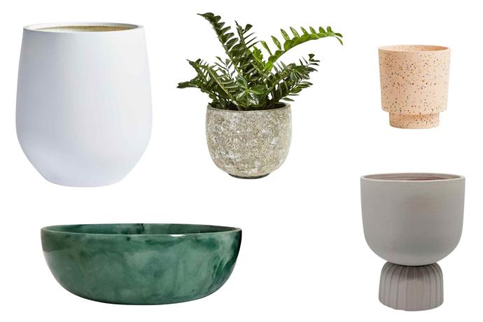 "**Pots of style** Introduce colour and shape with eye-catching planters. **Get the look** (clockwise from top left) Willow Range composite 'JITT' pot, from $99, [The Balcony Garden](https://thebalconygarden.com.au/|target=""_blank""