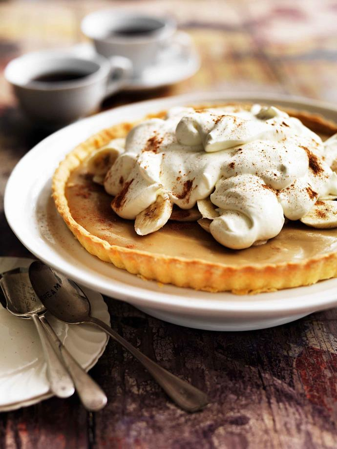 "A [banoffee pie](https://www.womensweeklyfood.com.au/recipes/banoffee-pie-7385|target=""_blank"") topped with a generous helping of chantilly cream."