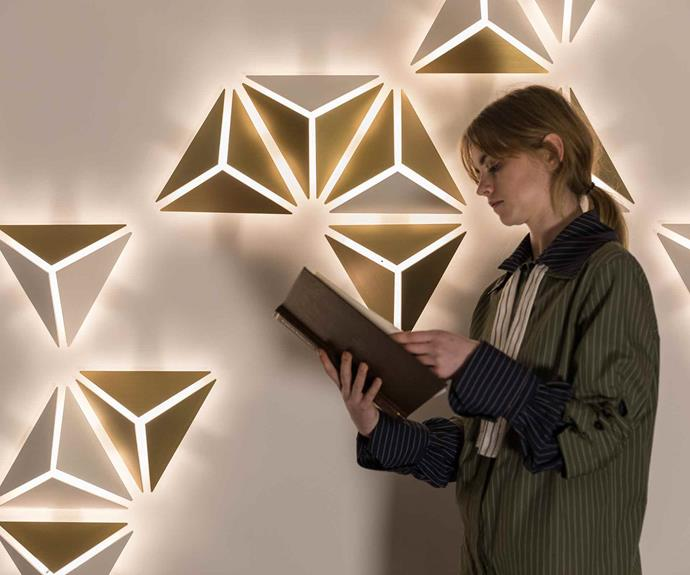 Alex's geometric Light Garden panels were inspired by the angular petals of a grove of bougainvillea and can be configured in multiple ways.