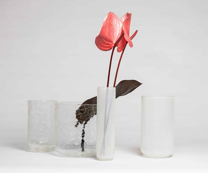 The Crackle Vases blend strength with fragility.