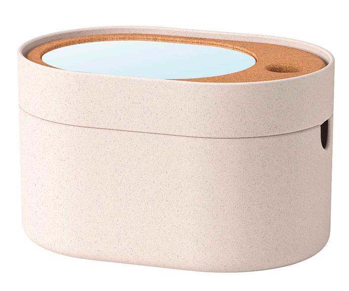 "Saxborga storage box with mirror lid, $19.99, [IKEA](https://www.ikea.com/au/en/|target=""_blank""|rel=""nofollow"")."
