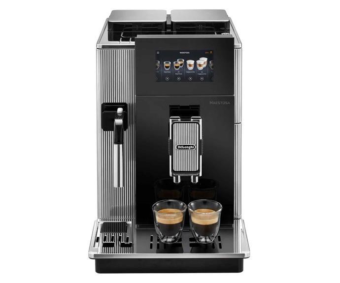 "De'Longhi 'Maestosa' automatic coffee machine in Black, $4999, [Harvey Norman](https://www.harveynorman.com.au/|target=""_blank""|rel=""nofollow"")."
