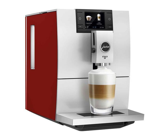 "ENA 8 automatic coffee machine in Sunset Red, $1899, [Jura](https://au.jura.com/en|target=""_blank""|rel=""nofollow"")."