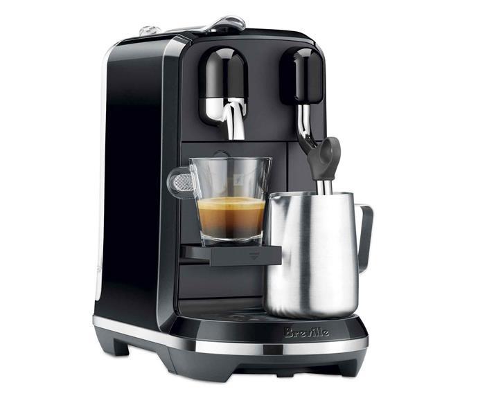 "Breville 'Nespresso Creatista Uno' espresso maker in Black Sesame, $467, [Harvey Norman](https://www.harveynorman.com.au/|target=""_blank""|rel=""nofollow"")."