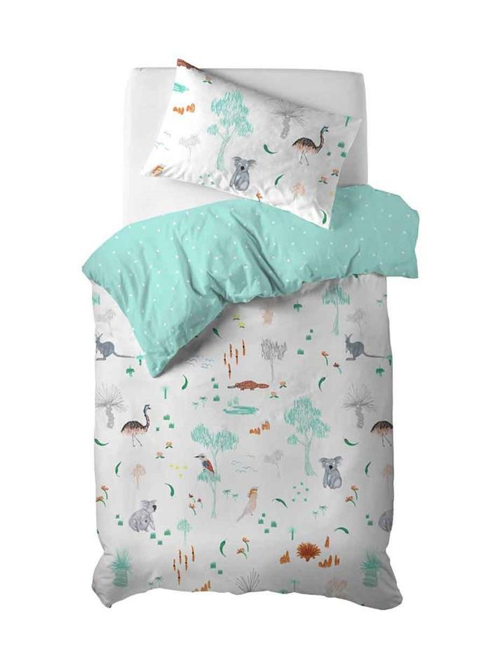 "'Aussie friends' **quilt cover set**, $109.95, from [LinenHouse](https://www.linenhouse.com/bedroom/shop-by-brand/hiccups-for-kids/aussie-friends-quilt-cover-set|target=""_blank""