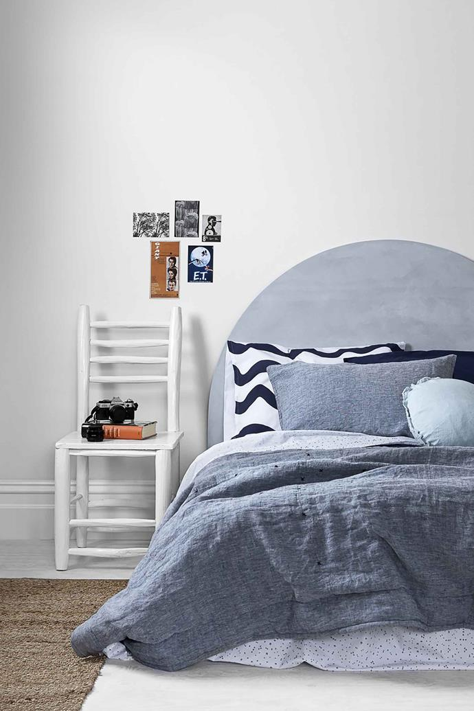 "'Quilty pleasures' linen **quilt** in denim and navy, starting at $260 (for king single), from [Feliz Home](https://www.felizhome.com.au/collections/linen-quilts/products/quilty-pleasures-denim-navy-linen-quilt|target=""_blank""
