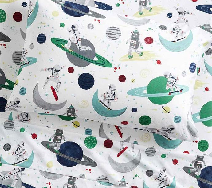 "'Astronaut' glow-in-the-dark organic cotton **sheet set**, starting at $29,  from [Pottery Barn Kids](http://www.potterybarnkids.com.au/astronaut-glow-in-the-dark-sheet-set|target=""_blank""