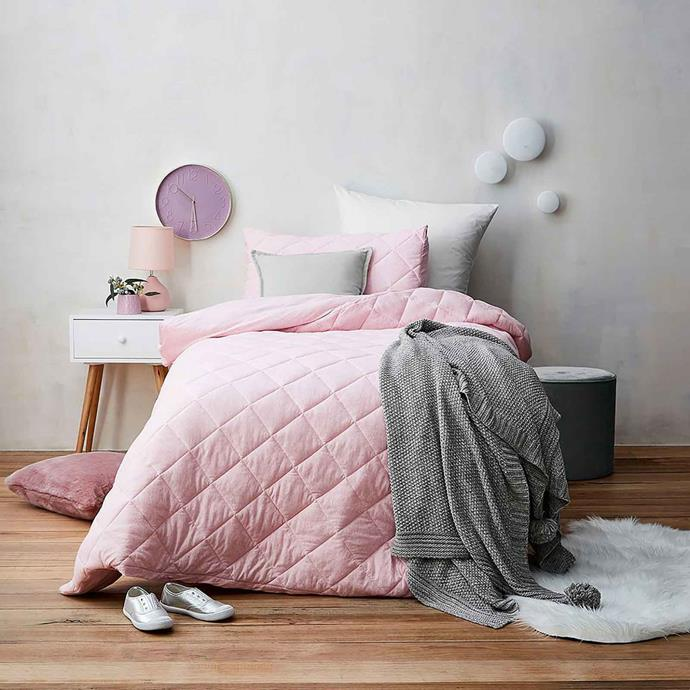 "'Queenie' **quilt cover set**, starting at $29, from [Target](https://www.target.com.au/p/queenie-quilt-cover-set/61541504|target=""_blank""