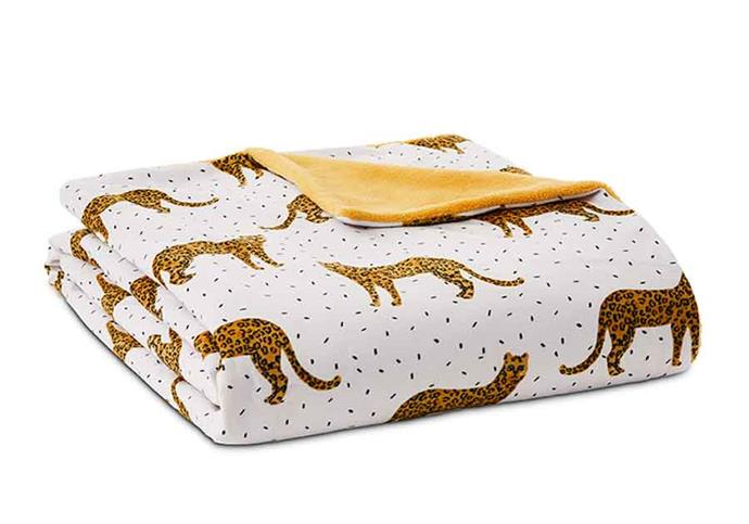 "Printed silky fleece leopard **blanket**, $39.99, from [Adairs](https://fave.co/2Q54cC7|target=""_blank""