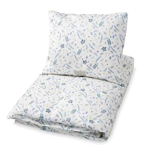 "'Pressed leaves' cot **doona cover set**, $99, from [The Elegant Crib](https://theelegantcrib.com.au/collections/unisex/products/pressed-leaves-blue-cot-doona-cover-set|target=""_blank""