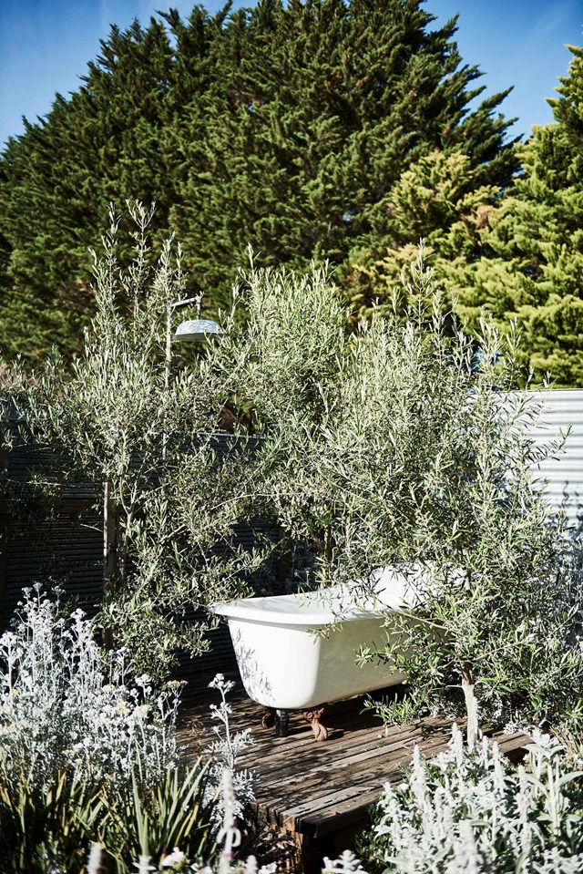 "An outdoor shower and claw-foot bath are screened by a Mediterranean-inspired garden at this beautiful [property in Pipers Creek, Victoria](https://www.homestolove.com.au/gable-roof-cottage-20629|target=""_blank"")."