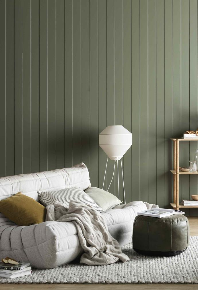 **All natural** This greyed-off green by Haymes Paint is called Mimosa Leaf. It has a quintessentially Australian look that evokes bushy alpine regions. Team it with light timber pieces, creamy white accessories, clear glass and an invigorating touch of mustard.