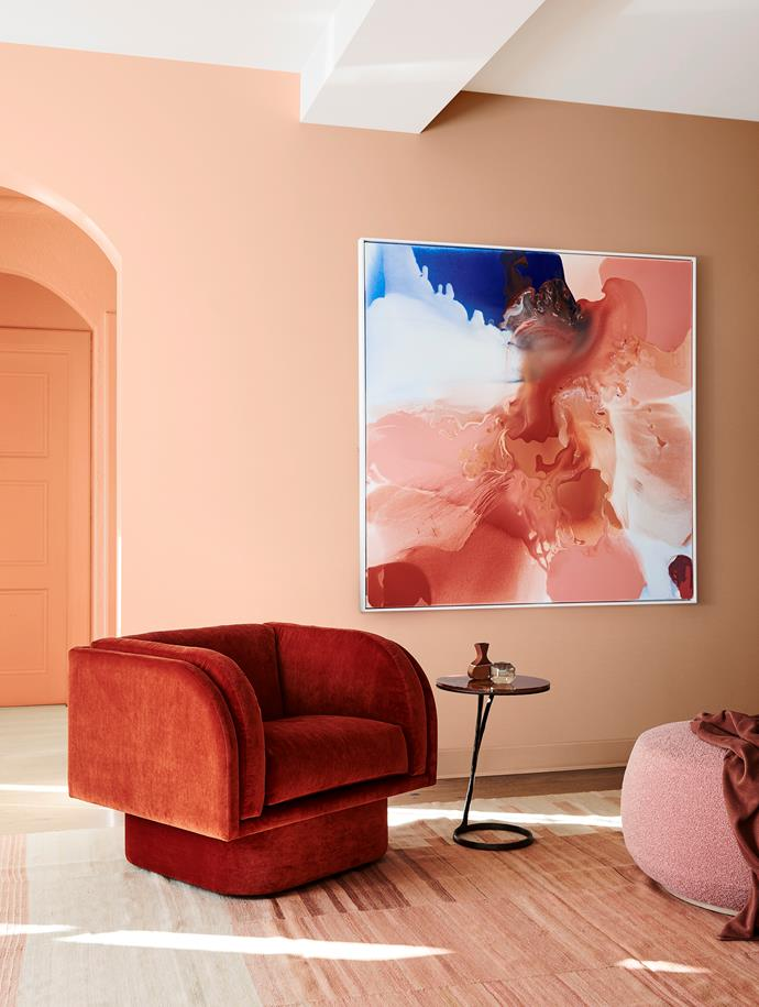 Dulux Colour Forecast 2020 – *Indulge* palette. Wall in Dulux Show Business (rear), wall in Yolande (front).