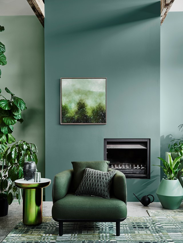 Dulux Colour Forecast 2020 – Cultivate palette. Wall in Dulux Powdered Gum (left), wall in Hancock (centre and right).