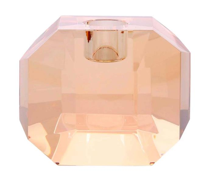 "Crystal glass candleholder in Amber Diamond, $89, [House of Orange](https://www.houseoforange.com.au/|target=""_blank""