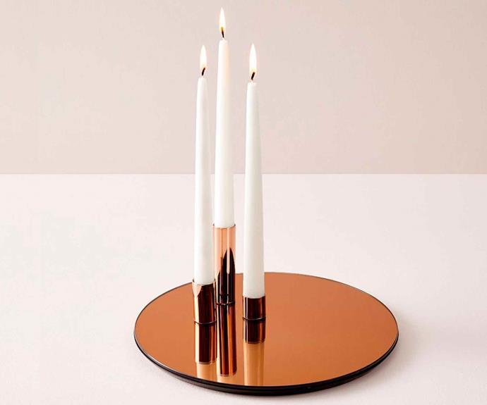 "Marcel mirror candleholder, $149, [West Elm](http://www.westelm.com.au/ target=""_blank"" rel=""nofollow"")."