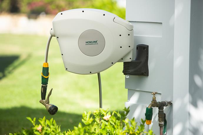 A retractable hose reel will keep your hose out of sight and kink-free.