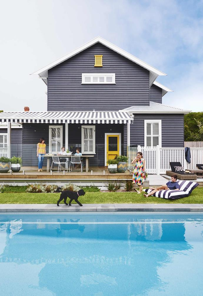 "This [renovated 1920s Californian bungalow in Barwon Heads](https://www.homestolove.com.au/californian-bungalow-barwon-heads-17909|target=""_blank"") features a charming blend of Hamptons-inspired design meets Scandi-style, accented with a pop of colour. Plantation shutters add a sophisticated touch to the rear of the home, giving the interior a clear view to the backyard.<br><br>"
