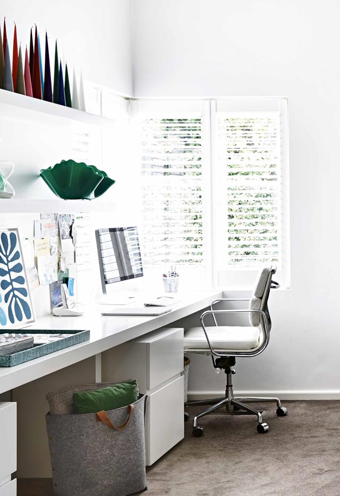 "Plantation shutters are a clever way to amplify natural light and ventilation within the home. In the study space of this [Melbourne Art Deco home](https://www.homestolove.com.au/art-deco-house-melbourne-18506|target=""_blank""), the plantation shutters make the most of the stunning view outside the window while also providing privacy.<br><br>"