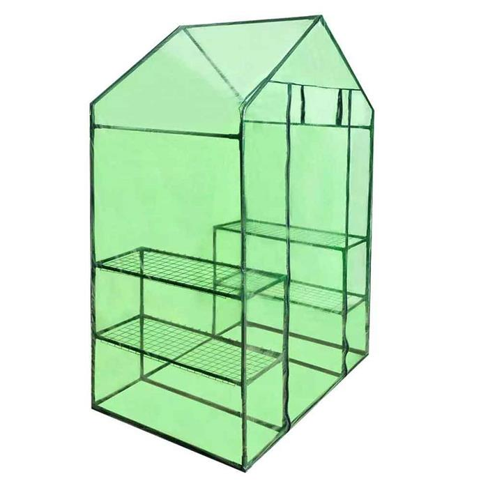 Walk-in **greenhouse plant shed** with 4 shelves and PVC cover, $67.44.