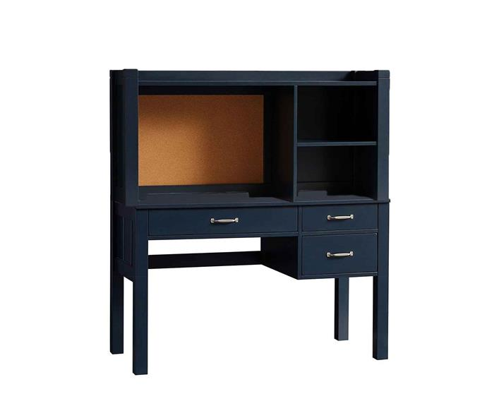 """**STORAGE PLUS**<p> <p>*'Camp Storage' desk, $689, and hutch, $399, from [Pottery Barn Kids](http://www.potterybarnkids.com.au/camp-storage-desk