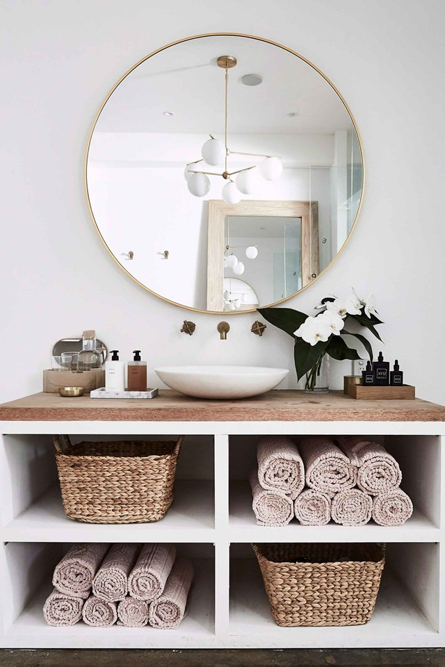 **Bathroom:** A sturdy, oversized basket or two will quickly become an essential addition to your bathroom. Perfect or keeping dirty towels and laundry out of sight, it can also double as a bath table to hold magazines.