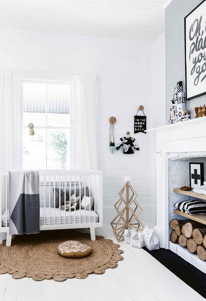 "When creating a nursery space for your little ones, ample soft finishings are a must which is why in this [contemporary beachside home](https://www.homestolove.com.au/design-ideas-from-a-coastal-meets-rustic-family-home-17691|target=""_blank"") a generous rug is also a convenient play area.<br><br>"