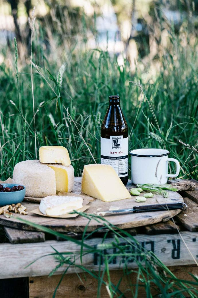 Nick likes to serve his cheese on a wooden board or a white platter so the cheese stands out with a glass of Bruny Island Beer Co Farm Ale alongside it.