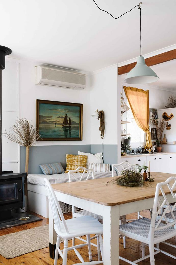 "Looking for a [holiday home](https://www.homestolove.com.au/scandinavian-coastal-style-13761|target=""_blank""), the sisters stumbled upon the cottage in 2015. ""It was so cute and we loved it because it was a weatherboard with good bones. We could see the potential, plus it's in a great location,"" Emma says. The FOTO pendant over the dining table is from [IKEA](https://fave.co/31g1M4B