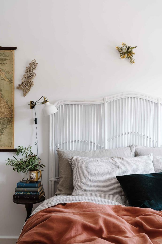 "A bedroom in the cottage. Emma and Sarah love to shop for vintage wares in Adelaide at Vintage Carousel and take inspiration from the online store [Merchants of the Sea](https://www.merchantsofthesea.com.au/|target=""_blank""