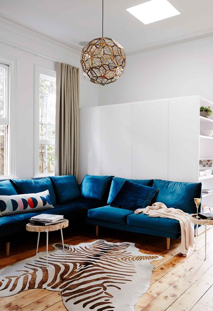 A vibrant coloured sofa can instantly elevate a room.