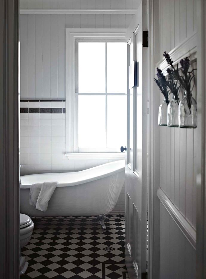 Neil and Heidi worked hard to restore as much of the original house as possible, including the timber floors and tongue-and-groove boards. Guests can unwind in a claw-foot tub in the upstairs bathroom.