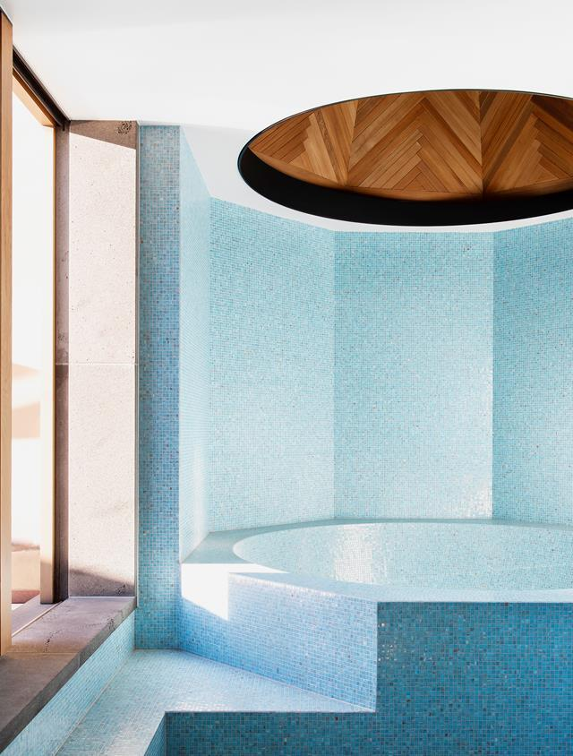 "Located in the turret of a [19th-century villa](https://www.homestolove.com.au/restored-19th-century-villa-20488|target=""_blank""), this unique sky blue bath is a real talking point. The mosaic tiles are from The City Tiler."
