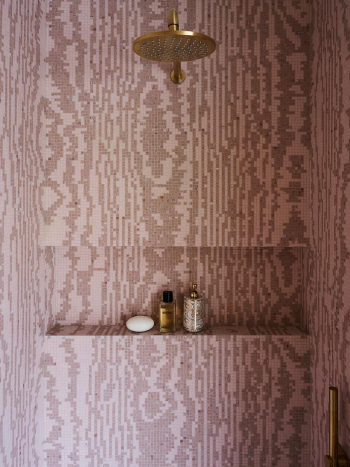 Showerhead/tapware Astra Walker 'Metropolis' wall mounted shower arm and rose in Urban Brass.