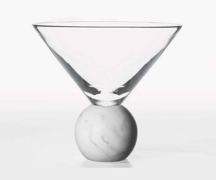 "Lee Broom 'On the Rock' glass with Carrara marble base, $190, [Space](https://www.spacefurniture.com.au/|target=""_blank""
