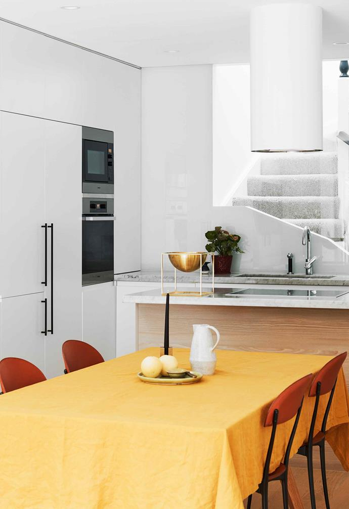 """**Kitchen** The big difference here is the new white cylindrical Albany rangehood by [Qasair](https://www.condari.com.au/