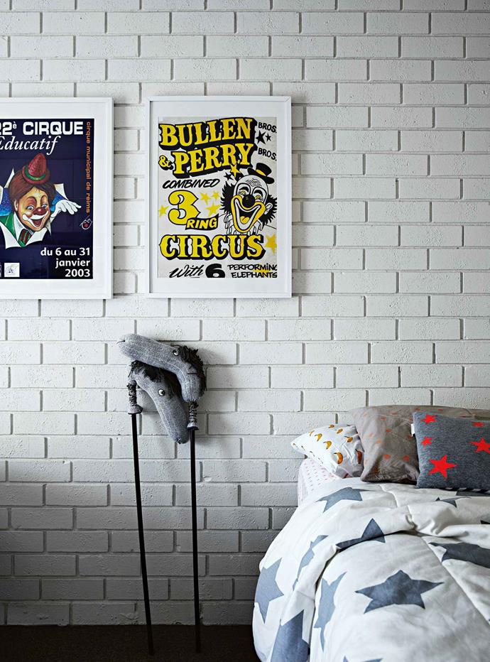 Amber found the vintage circus posters in the boys' bedroom downstairs in second-hand shops.