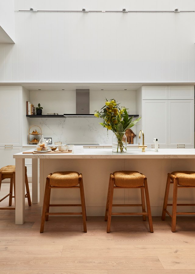 """A massive void and skylight above the kitchen was a masterstroke that won Andy and Deb kitchen week. Judge Neale Whitaker called it one of the [best kitchens delivered on *The Block*](https://www.homestolove.com.au/the-block-best-kitchens-5739